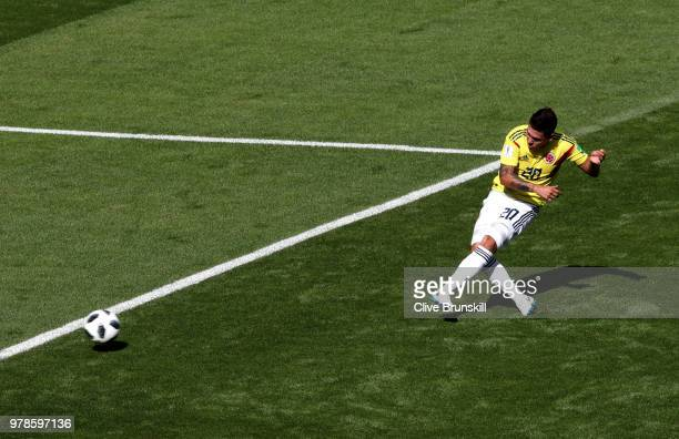 Juan Quintero of Colombia scores the first Colombia goal during the 2018 FIFA World Cup Russia group H match between Colombia and Japan at Mordovia...