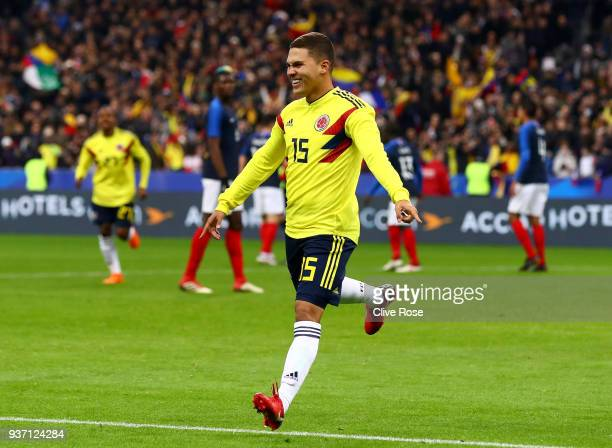 Juan Quintero of Columbia celebrates after scoring his sides third goal during the International friendly match between France and Columbia at Stade...