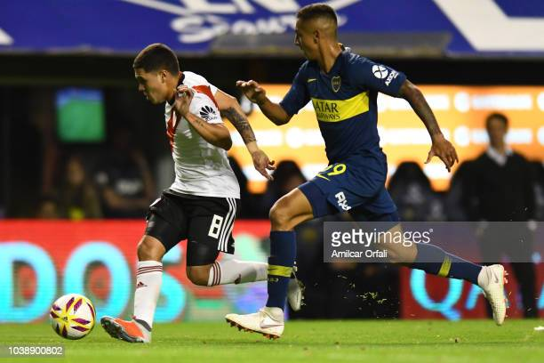 Juan Quintero of River Plate and Agustin Almendra of Boca Juniors during a match between Boca Juniors and River Plate as part of Superliga 2018/19 at...