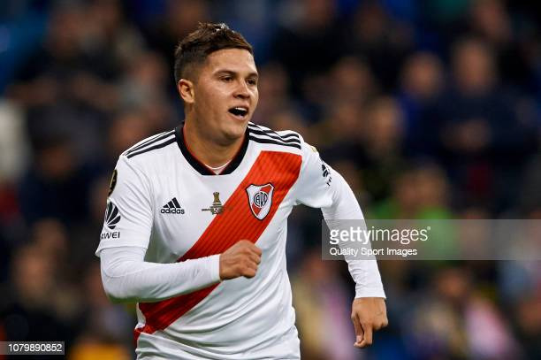 Juan Quintero of River Plate celebrates after scoring his team's second goal during the second leg of the final match of Copa CONMEBOL Libertadores...