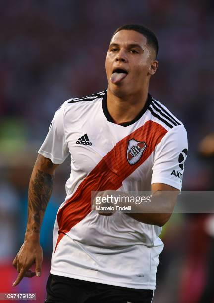 Juan Quintero of River Plate celebrates after scoring the first goal of his team during a match between River Plate and Racing Club as part of...