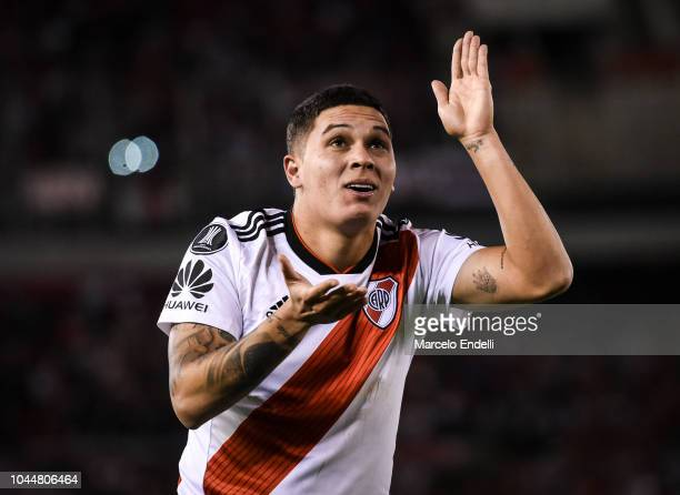 Juan Quintero of River Plate celebrates after scoring the second goal of his team during a quarter final second leg match of Copa CONMEBOL...