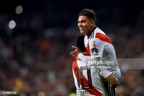 Juan Quintero of River Plate celebrates with Gonzalo Martinez of River Plate after scoring his team's second goal during the second leg of the final...