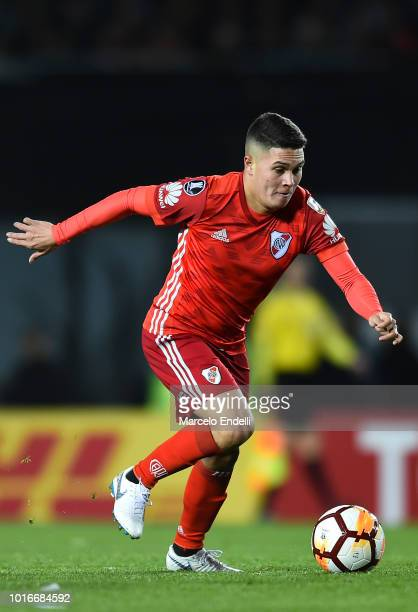 Juan Quintero of River Plate drives the ball during a round of sixteen first leg match between River Plate and Racing Club as part of Copa CONMEBOL...