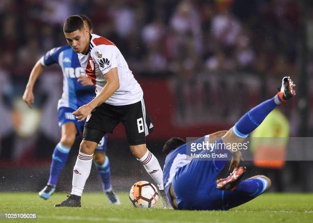 Juan Quintero of River Plate drives the ball during a round of sixteen second leg match between River Plate and Racing Club as part of Copa CONMEBOL...