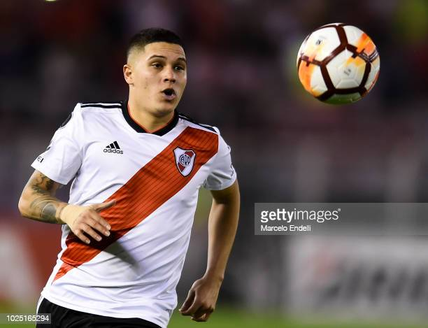 Juan Quintero of River Plate looks at the ball during a round of sixteen second leg match between River Plate and Racing Club as part of Copa...