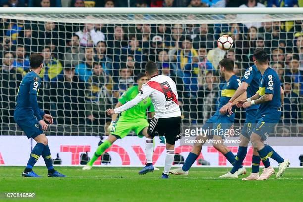 Juan Quintero of River Plate scores his team's second goal during the second leg of the final match of Copa CONMEBOL Libertadores 2018 between Boca...