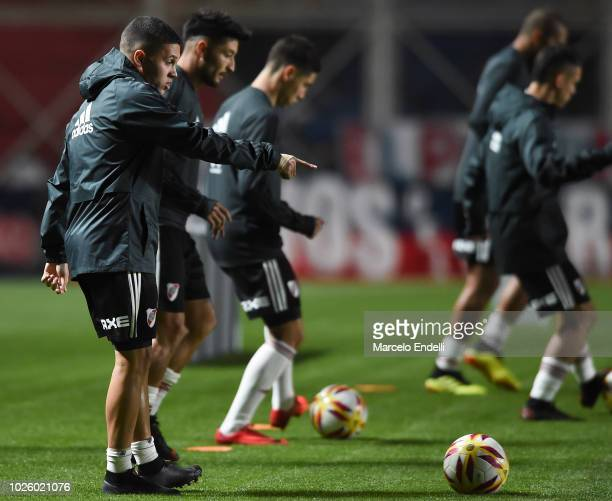Juan Quintero of River Plate warms up before a match between San Lorenzo and River Plate as part of Superliga Argentina 2018/19 at Estadio Pedro...