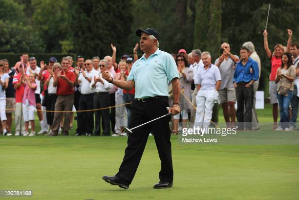 Juan Quiros of Spain celebrates holing the winning putt in a playoff against Des Smyth of Ireland during the Cannes Mougins Masters at the Golf...