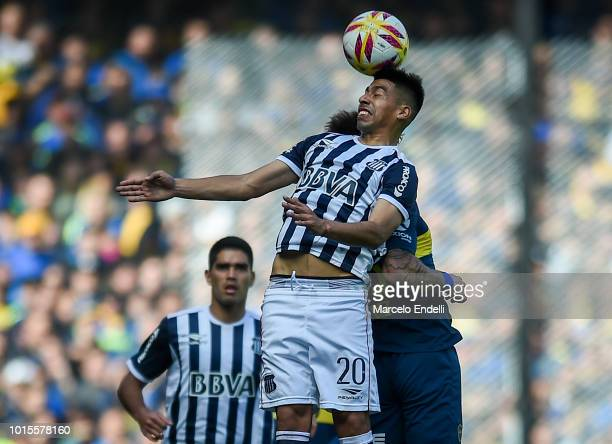 Juan Ramirez of Talleres heads the ball during a match between Boca Juniors and Talleres as part of Superliga Argentina 2018/19 at Estadio Alberto J...