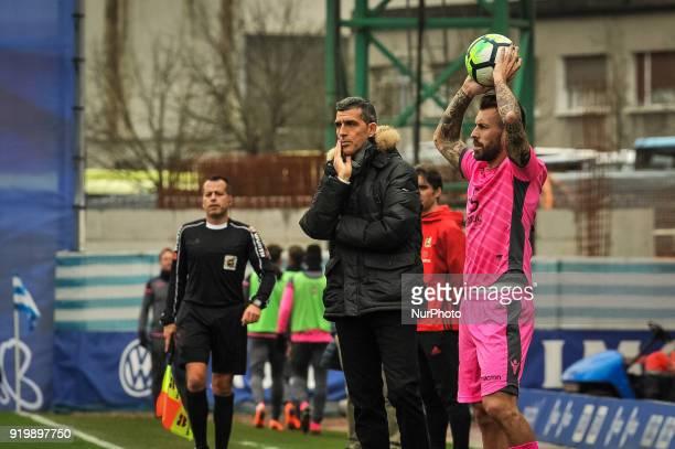 Juan Ramon Lopez Muniz head coach of Levante reacts during the Spanish league football match between Real Sociedad and Levante at the Anoeta Stadium...
