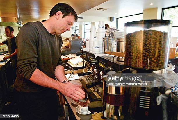 Juan Renshaw making coffee at his cafe called Espresso Fox at Fox Studios Juan who owns the cafe is being sued by Vittoria Coffee for not using their...