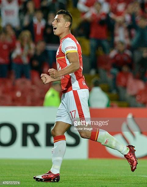 Juan Roa of Santa Fe celebrates after scoring the second goal of his team during a group 1 match between Santa Fe and Atlas as part of stage group of...