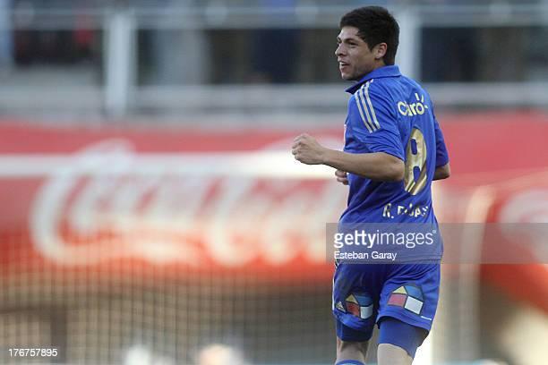 Juan Rodrigo Rojas of Universidad de Chile celebrates a scored goal against Ñublense during a match between Universidad de Chile and Ñublense as part...
