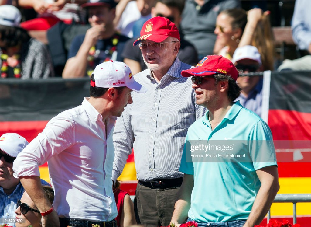 Juan Roig (C) attend day three of the Davis Cup World Group Quarter Finals match between Spain and Germany at Plaza de Toros de Valencia on April 8, 2018 in Valencia, Spain.