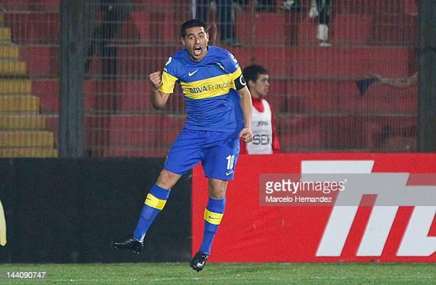 Juan Roman Riquelme from Boca Juniors celebrates a scored goal during a match between Union Espanola and Boca Jrs as part of the Copa Libertadores...