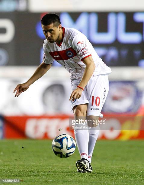 Juan Roman Riquelme of Argentinos Juniors kicks the ball during a match between Argentinos Juniors and Colon as part of of Torneo de Transicion...