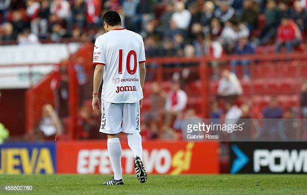 Juan Roman Riquelme of Argentinos Juniors looks down during a match between Argentinos Juniors and Colon as part of of Torneo de Transicion Nacional...