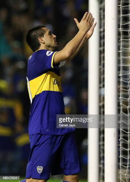 Juan Roman Riquelme of Boca Juniors celebrates after scoring the second goal of his team during a match between Boca Juniors and Arsenal F.C. As part...