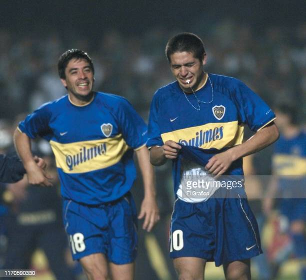 Juan Roman Riquelme of Boca Juniors cries with joy at the end of the second leg final match between Palmeiras and Boca Juniors as part of Copa...