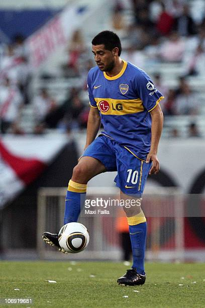 Juan Roman Riquelme of Boca Juniors in action during their soccer match against River Plate as part of the IVECO Bicentenario Apertura 2010 at the...