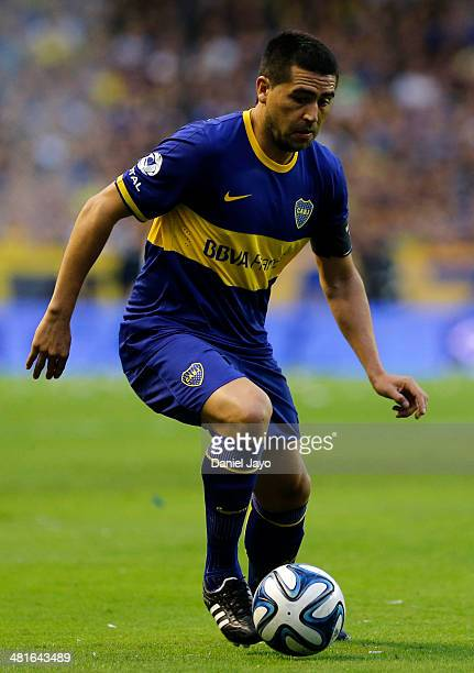 Juan Roman Riquelme of Boca Juniors plays the ball during a match between Boca Juniors and River Plate as part of 10th round of Torneo Final 2014 at...