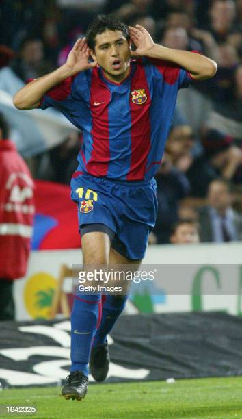 Juan Romn Riquelme of Barcelona celebrates during the Primera Liga match between FC Barcelona and Villarreal CF played at the Camp Nou Stadium...