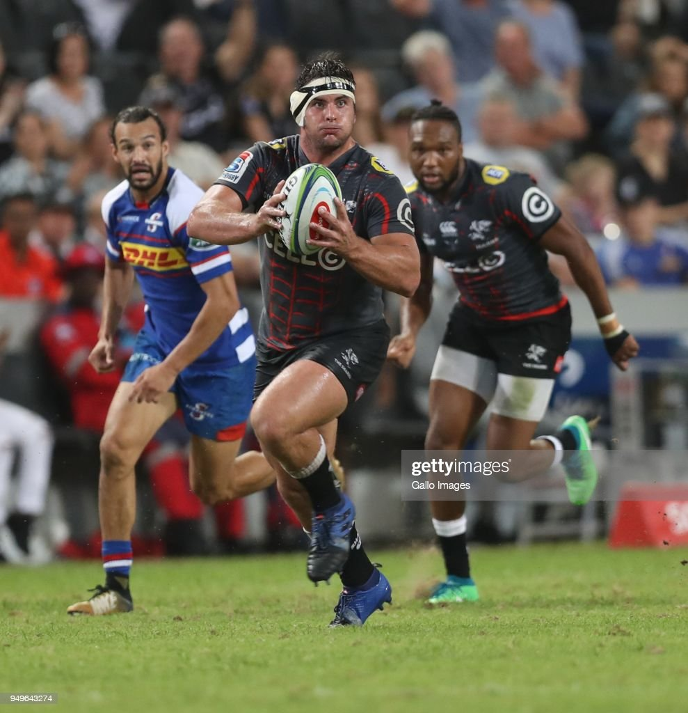 Juan Schoeman of the Cell C Sharks during the Super Rugby match between Cell C Sharks and DHL Stormers at Jonsson Kings Park on April 21, 2018 in Durban, South Africa.