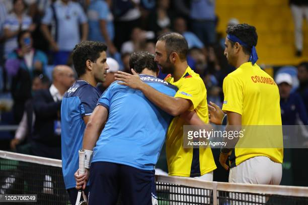 Juan Sebastian Cabal and Robert Farah from Colombia compete against Maximo Gonzalez and Horacio Zeballos from Argentina at the doubles match for the...