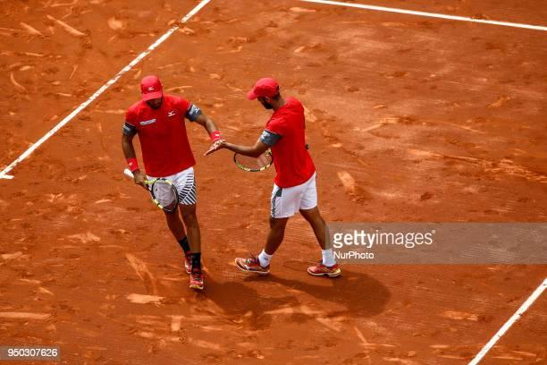 Juan Sebastian CABAL and Robert FARAH from Colombia during the Barcelona Open Banc Sabadell 66º Trofeo Conde de Godo first round match between Benoit...