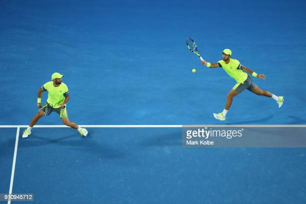 Juan Sebastian Cabal of Colombia and Robert Farah of Colombia compete in their Men's Doubles Final against Oliver Marach Austria and Mate Pavic of...