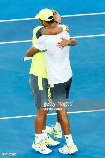 Juan Sebastian Cabal of Colombia and Robert Farah of Colombia celebrate their win in their semifinal match against Mike Bryan and Bob Bryan of the...