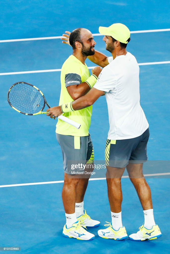 Juan Sebastian Cabal of Colombia and Robert Farah of Colombia celebrate their win in their semi-final match against Mike Bryan and Bob Bryan of the USA on day 11 of the 2018 Australian Open at Melbourne Park on January 25, 2018 in Melbourne, Australia.