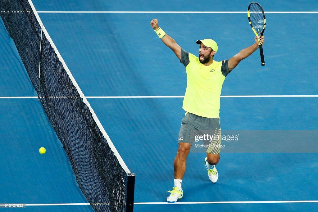 Juan Sebastian Cabal of Colombia, partnering Robert Farah of Colombia, celebrates their win in their semi-final match against Mike Bryan and Bob Bryan of the USA on day 11 of the 2018 Australian Open at Melbourne Park on January 25, 2018 in Melbourne, Australia.