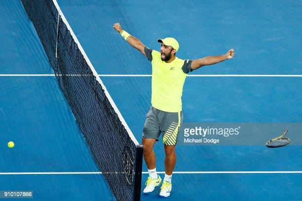 Juan Sebastian Cabal of Colombia partnering Robert Farah of Colombia celebrates their win in their semifinal match against Mike Bryan and Bob Bryan...
