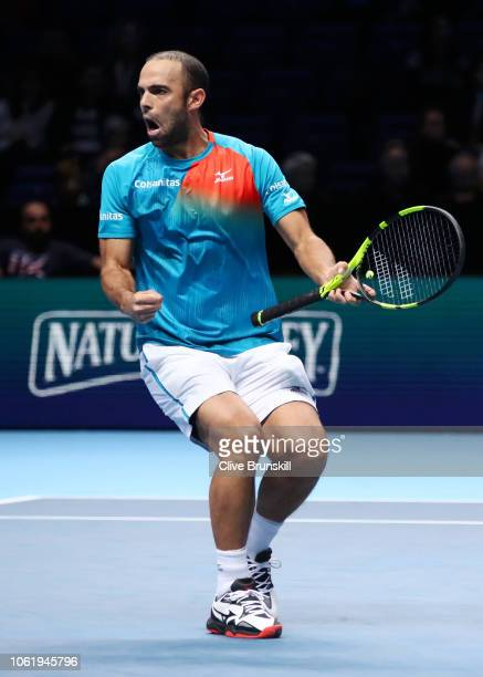 Juan Sebastian Cabal of Columbia celebrates match point after him and his teammate Robert Farah of Columbia win their round robin match against...