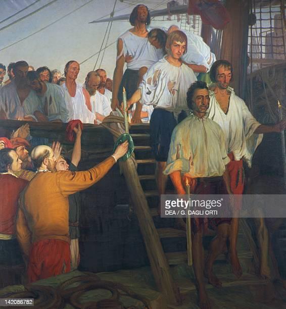 Juan Sebastian Elcano and his crew painting