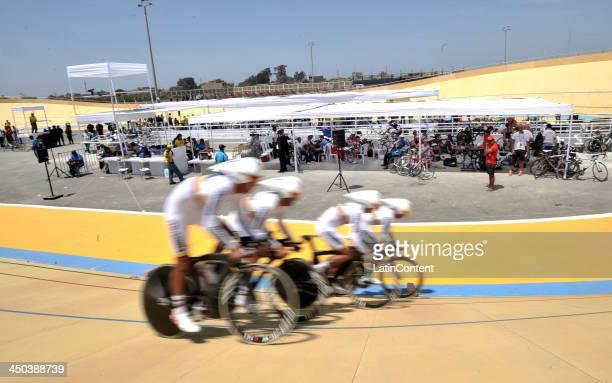 Juan Sebastian Molano, Aries Castro, Jhonatan Restrepo and Juan Esteban Arango of Colombia compete in 4000 meters Men's Team pursuit as part of the...