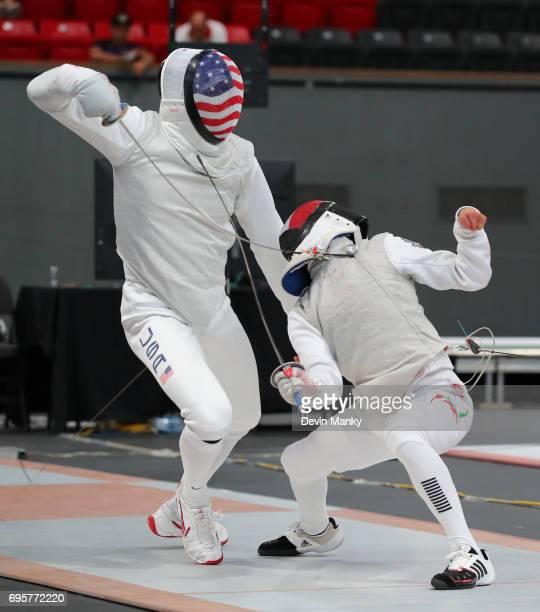 Juan Sebastian Unda of Mexico fences 2016 Rio Olympian Gerek Meinhardt during the Men's Foil event on June 13 2017 at the PanAmerican Fencing...