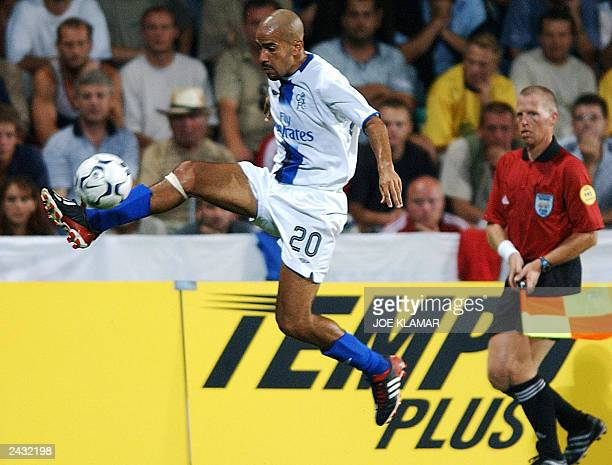 Juan Sebastian Veron of Chelsea FC London centers the ball during the 3rd preliminary round qualifing match of UEFA Champions league in Zilina 13...