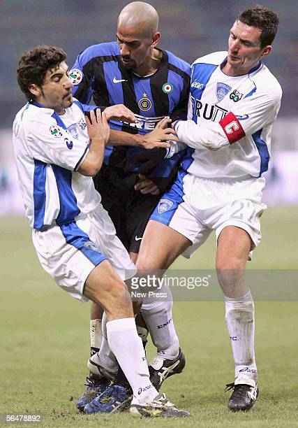 Juan Sebastian Veron of Inter in action during the Serie A match between Inter Milan and Empoli at the Giuseppe Meazza, San Siro Stadium on December...