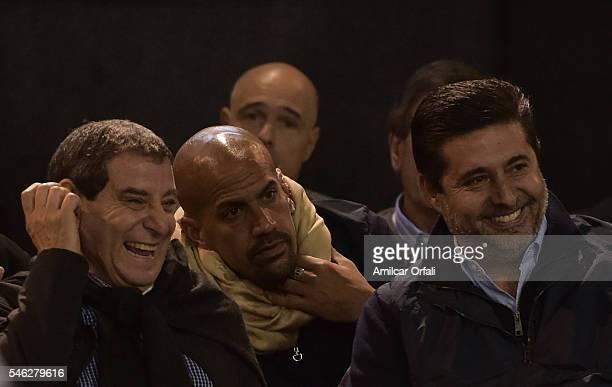 Juan Sebastian Veron President of Estudiantes and Daniel Angelici President of Boca Juniors during an Argentina Football Association extraordinary...