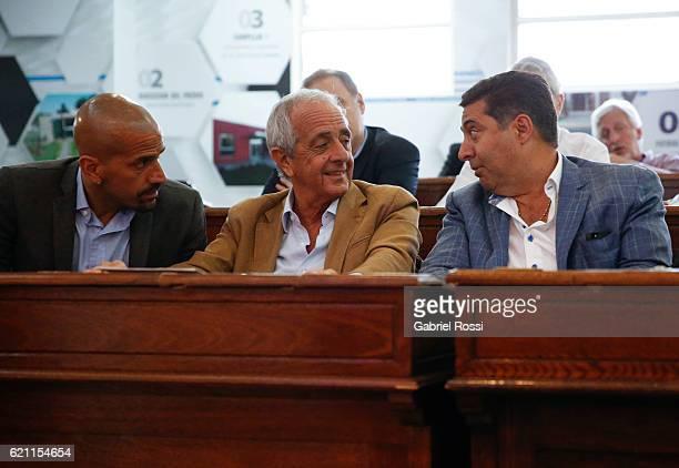 Juan Sebastian Veron President of Estudiantes Rodolfo D'Onofrio President of River Plate and Daniel Angelici President of Boca Juniors speak during a...
