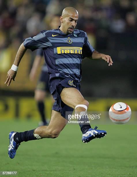 Juan Sebastien Veron of Inter Milan in action during the Champions League Quarter Final Second Leg match between Villarreal and Inter Milan at the El...