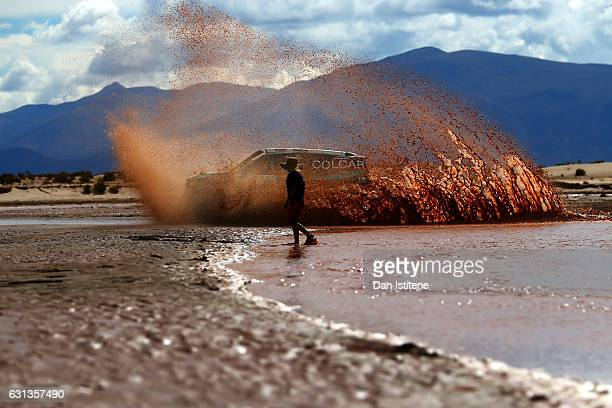Juan Silva of Argentina and Mercedes Colcar drives with codriver Sergio Lafuente of Uruguay in the Prototipo Colcar Mercedes car during stage seven...