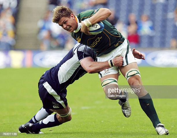 Juan Smith of South Africa in action during the Rugby Union International match between Scotland and South Africa at Murrayfield Stadium on August...