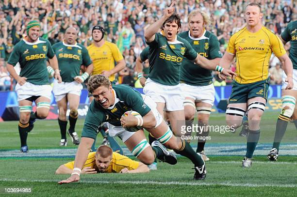 Juan Smith of South Africa scores during the Tri Nations match between South Africa and Australia at Loftus Versfeld Stadium on August 28 2010 in...