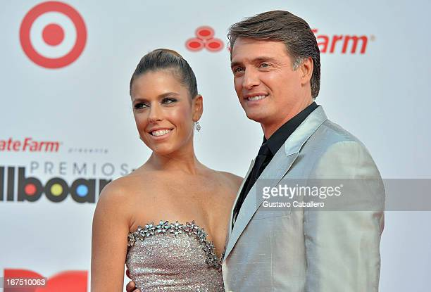 Juan Soler and wife Maki arrive at Billboard Latin Music Awards 2013 at Bank United Center on April 25, 2013 in Miami, Florida.