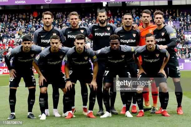 Juan Soriano of Sevilla FC Sergi Gomez of Sevilla FC Daniel Carrico of Sevilla FC Wissam Ben Yedder of Sevilla FC Ever Banega of Sevilla FC Maxime...