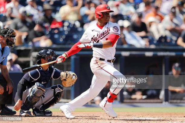 Juan Soto of the Washington Nationals at bat against the New York Yankees during a Grapefruit League spring training game at FITTEAM Ballpark of The...